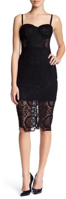 Trixxi Scallop Hem Lace Bodycon Dress (Juniors)