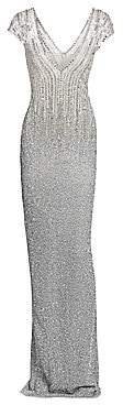 Pamella Roland Women's Ombre Sequin & Crystal Plunging Column Dress