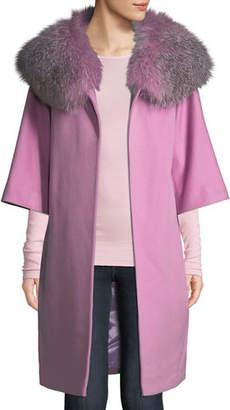 Fleurette Wool Cocoon Coat w/ Oversized Fur Collar