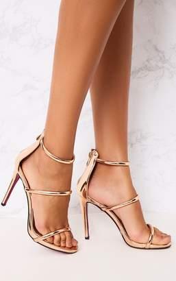 PrettyLittleThing Marthea Rose Gold Tube Strap Heeled Sandals