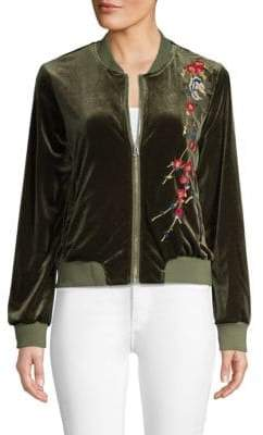 Driftwood Embroidered Velvet Bomber Jacket