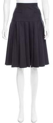 Oscar de la Renta Pleated Wool Skirt