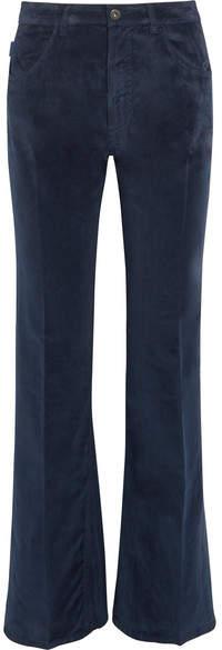 Prada - Velvet Flared Pants - Navy