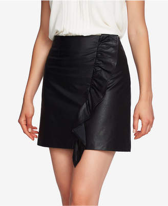 1 STATE 1.state Ruffled Faux-Leather Mini Skirt