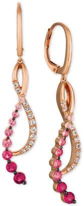 LeVian Le Vian Strawberry Layer Cake Multi-Gemstone Treble Clef Drop Earrings (1-1/4 ct. t.w.) in 14k Rose Gold