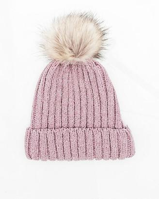 Le Château Metallic Knit Pom-Pom Hat