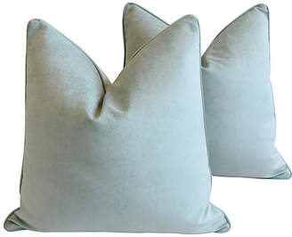 One Kings Lane Vintage Ocean Sea Mist Velvet Pillows - Set of 2