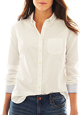 JCPenney jcp Long-Sleeve Oxford Shirt