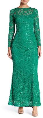 Marina Long Sleeve Lace Gown $169 thestylecure.com