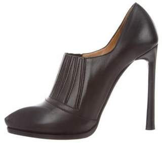 Lanvin Leather Pointed-Toe Booties Black Leather Pointed-Toe Booties