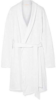 Eberjey Leonor Mélange Cotton-blend Jersey Robe - Light gray