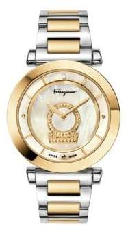 Salvatore Ferragamo Minuetto Stainless Steel, Mother Of Pearl & Diamond Watch