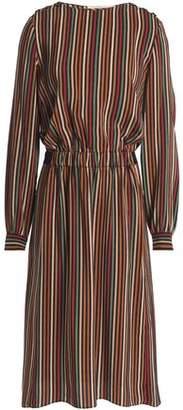 Vanessa Bruno Gathered Striped Silk Dress