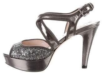 Miu Miu Sequin Embellished Platform Sandals