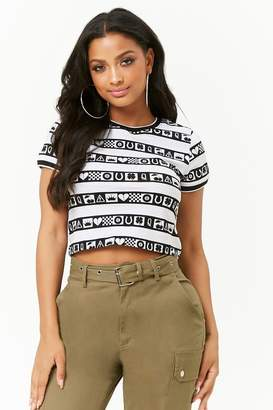 Forever 21 Striped Graphic Crop Top