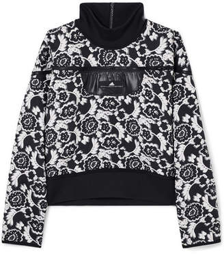 adidas by Stella McCartney Stretch Jersey-trimmed Floral-jacquard Sweatshirt - Black