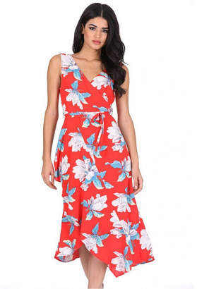 AX Paris Floral Print Sleeveless Wrap Over Dress