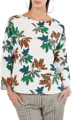 Akris Punto Tropical Leaf-Print Cotton Top