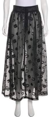 Ganni Semi-Sheer Midi Skirt