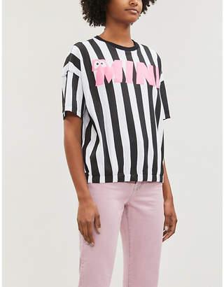 Mini Cream Striped oversized cotton-jersey T-shirt
