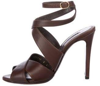 Ralph Lauren Leather Ankle-Strap Sandals