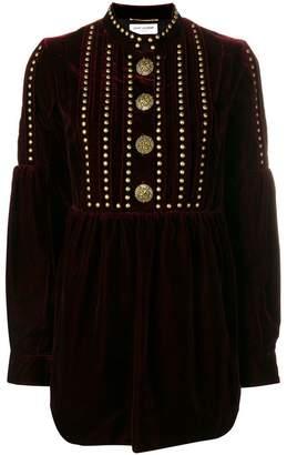 Saint Laurent embellished long-sleeve mini dress