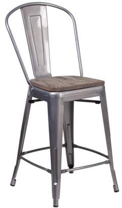 "clear Flash Furniture 24"" High Coated Counter Height Stool with Back and Wood Seat"
