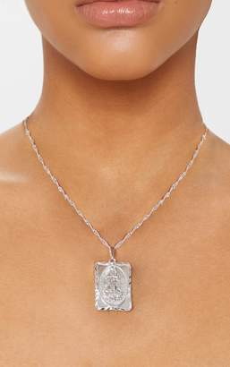 PrettyLittleThing Gold Square Renaissance Pendant Necklace