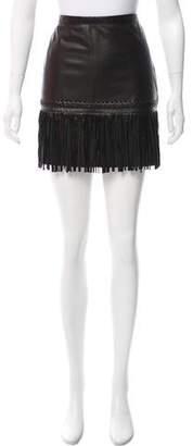 L'Agence Fringe Leather Skirt