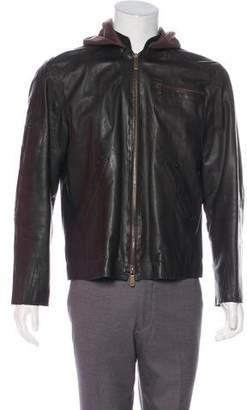 Emporio Armani Leather Hooded Jacket