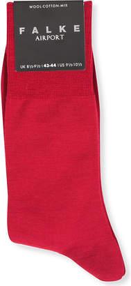 Falke Mens Burgundy Durable Airport Knitted Socks