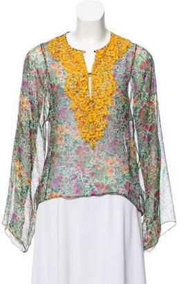 Oscar de la Renta Floral Print Embroidered Top