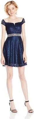 Speechless Junior's Chevron Lace Off Shoulder Short Prom Dress