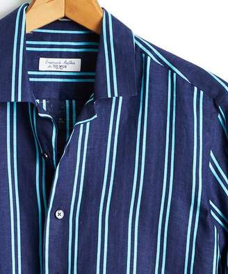 9aa40c41e92 Todd Snyder Emanuele Maffeis + Maffeis Blue and Teal Stripe Spread Collar  Linen Shirt