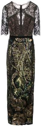 Marchesa sequin-embroidered lace column gown