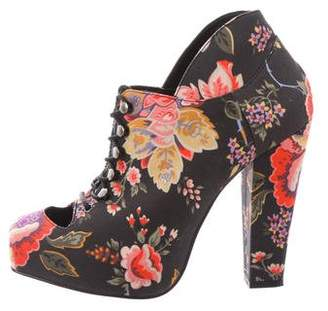 Opening Ceremony Rodarte x Floral Print Lace-Tie Booties