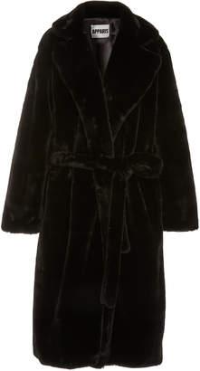 Apparis Mona Belted Faux Fur Coat Size: L