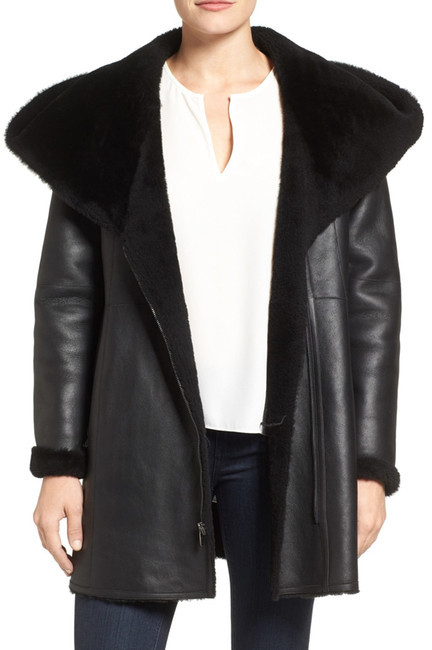 Cole Haan Cole Haan Genuine Curly Lamb Shearling Hooded Coat
