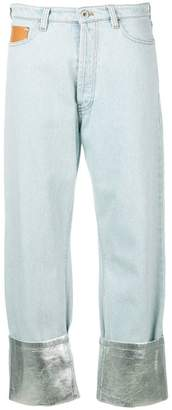 Paco Rabanne contrast cuff straight leg jeans