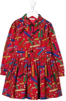 Dolce & Gabbana flannel dress with pencil sharpener print