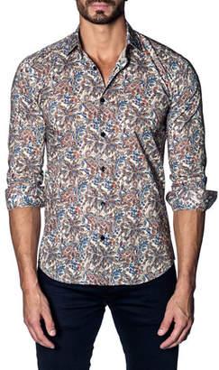 Jared Lang Men's Modern-Fit Paisley Long-Sleeve Shirt
