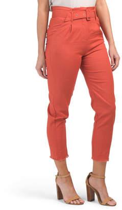 Juniors Linen Blend Belted Trousers