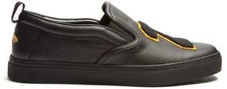 Gucci Hebron 25 Leather Slip On Trainers - Mens - Black Multi