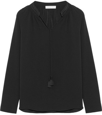 MICHAEL Michael Kors - Embroidered Textured-crepe Blouse - Black $85 thestylecure.com