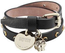 Alexander McQueenAlexander McQueen Embellished Leather Wrap Bracelet