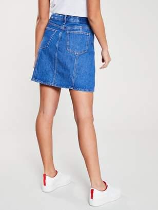 59b303d550 River Island Button Front Denim Mini Skirt- Blue