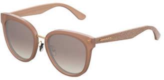 Jimmy Choo Cadefs Round Acetate Sunglasses w/ Glittered Arms