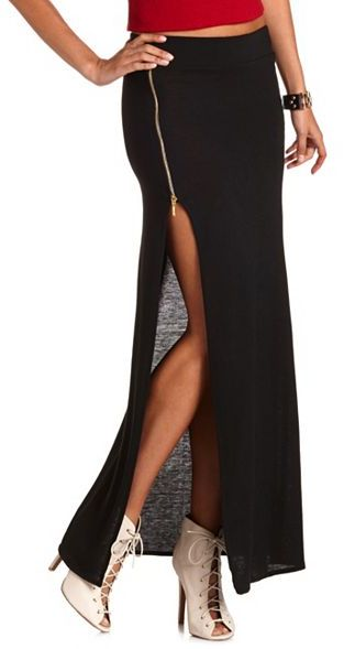 Charlotte Russe Side-Zip Hacci Maxi Skirt