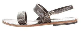 K Jacques St Tropez Embossed Leather Sandals