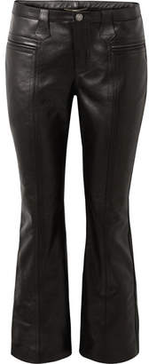 Saint Laurent Cropped Leather Flared Pants - Black